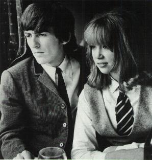 With Pattie Boyd on the set of A Hard Day's Night.