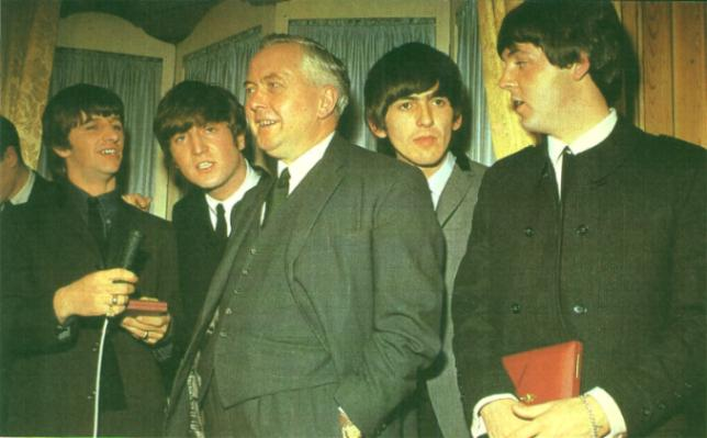 With Harold Wilson.